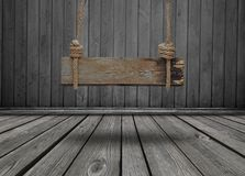 Czarny sztandar drewno w wnętrzu Obraz Stock