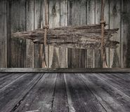 Czarny sztandar drewno w wnętrzu Fotografia Stock