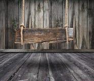 Czarny sztandar drewno w wnętrzu Zdjęcie Royalty Free
