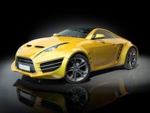 czarny tło samochód bawi się kolor żółty Obrazy Stock