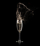 czarny tła a champagne glass * Zdjęcie Stock