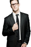 czarny target2813_0_ odizolowywający mężczyzna positivity kostium Obrazy Stock