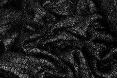 Czarny tkaniny tekstury tła wzór Ten tkanina jedwabniczy fabr fotografia stock
