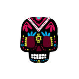 Czarny Tradycyjny meksykanin Malująca Scull ikona royalty ilustracja