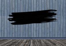 Czarny uderzenie farby muśnięcie na drewnianym tle kosmos kopii obraz stock