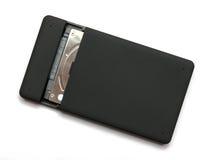 Czarny USB 3 (0) Zewnętrznie Ciężkiej przejażdżki skrzynek 2 5 cali na bielu obraz stock