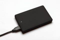 Czarny USB 3 (0) Zewnętrznie Ciężkiej przejażdżki skrzynek 2 5 cali odizolowywających na bielu obraz stock