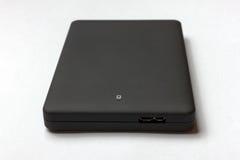 Czarny USB 3 (0) Zewnętrznie Ciężkiej przejażdżki skrzynek 2 5 cali odizolowywających na bielu zdjęcia stock