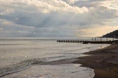 czarny wieczór spadek krajobrazu morze Obrazy Stock