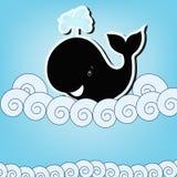 Czarny wieloryb w morzu Obraz Royalty Free