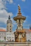 Czarny wierza i Samson fontanna w Ottokar II kwadracie ÄŒeské BudÄ› jovice cesky krumlov republiki czech miasta średniowieczny s Zdjęcia Stock