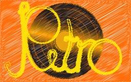 Czarny winyl, retro, modniś, antyk analogowy, stary, antykwarski, musicalu talerz malujący w muskającym stylu na żółtym tle royalty ilustracja