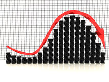Czarny wykres z czerwienią arrow№2 Zdjęcie Stock