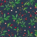 Czarny wzór z róż kropkami i rośliną royalty ilustracja