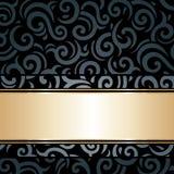 Czarny & złocisty luksusowy rocznik tapety tło Zdjęcie Royalty Free