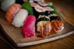 czarny zestaw strzały sushi Fotografia Stock