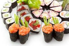 czarny zestaw strzały sushi Zdjęcia Stock
