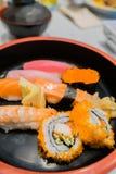 czarny zestaw strzały sushi Obrazy Royalty Free