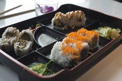 czarny zestaw strzały sushi Obraz Royalty Free