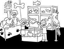 czarny zwierzęcia domowego sklepu wizyty biel Zdjęcia Royalty Free