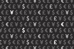 Czarnych Dolarowych Euro jenu funta walut Deseniowy tło Zdjęcie Royalty Free