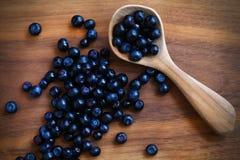 Czarnych jagod, świeżej i dzikiej owocowa zdrowa śniadaniowa porcja, Obrazy Stock