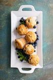 Czarnych jagod muffins na talerzu fotografia stock