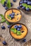 Czarnych jagod muffins z owsów płatkami Zdjęcia Stock