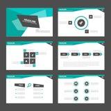 Czarnych Zielonych prezentacja szablonu Infographic elementów płaski projekt ustawia dla broszurki ulotki ulotki marketingu Zdjęcie Royalty Free
