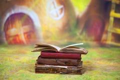 Czarodziejek książki przed kolorowym tłem Zdjęcie Stock