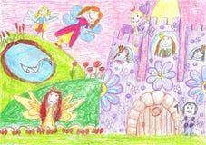Czarodziejka bajka, princess, książe - dzieci rysować Obraz Royalty Free