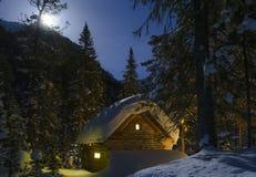 Czarodziejka dom w lasowej moonlit zimy nocy Fotografia Royalty Free