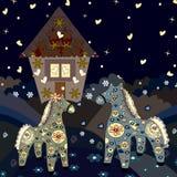 Czarodziejka dom z koniem jest na wzgórzach Zdjęcia Royalty Free