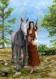Czarodziejka i jednorożec Zdjęcia Royalty Free