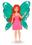 Czarodziejka z motylimi skrzydłami Piękny rudzielec postać z kreskówki Obrazy Stock