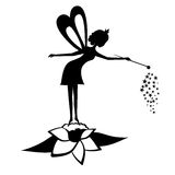 Czarodziejska czarna sylwetka z magiczną różdżką Zdjęcie Royalty Free
