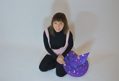 Czarodziejska dziewczyna - gnom, atrapa, dobra czarodziejka, czarownica dla Halloween Fotografia Stock