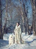 Czarodziejska dziewczyna z białym psem Fotografia Stock