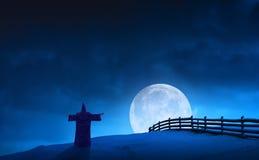 Czarodziejski czarownik i księżyc Fotografia Royalty Free