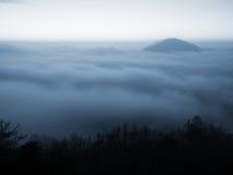 Czarodziejski fogy wschód słońca w wsi Wzgórze wzrastający od mgły mgła barwi złoty i pomarańczowy fotografia stock