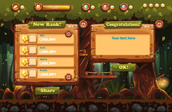 Czarodziejski las przy nocą z latarkami i przykładami ekrany, guziki, bary progresi dla gier komputerowych i sieć projekt, 2 wyzn Zdjęcie Royalty Free