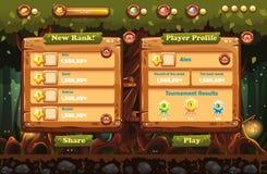 Czarodziejski las przy nocą z latarkami i przykładami ekrany, guziki, bary progresi dla gier komputerowych i sieć projekt, Set 1 Fotografia Royalty Free