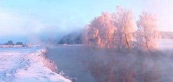 Czarodziejski zima wschód słońca Fotografia Royalty Free