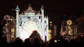 Czarodziejskich świateł kasztel na ulicie zdjęcie wideo