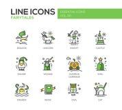 Czarodziejskich bajek projekta linii płaskie ikony ustawiać ilustracji