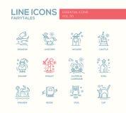 Czarodziejskich bajek projekta linii płaskie ikony ustawiać ilustracja wektor