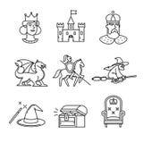 Czarodziejskie ogon ikony cienieją kreskowej sztuki set Zdjęcia Stock