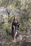 Czarownic kobiety podczas Halloween w lesie Obraz Royalty Free
