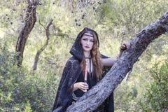 Czarownic kobiety podczas Halloween w lesie Fotografia Royalty Free