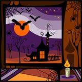 Czarownica dom w nocy Obraz Stock